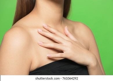 Neckline of young woman. Skin care concept.
