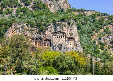 Necropolis on a rock on the Dalyan River. Turkey