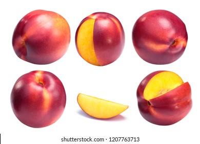 Nectarine, a smooth-skinned peach (Prunus persica var. nucipersica), whole and slice