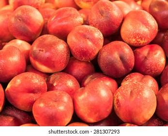 Nectarines on display at fruit market