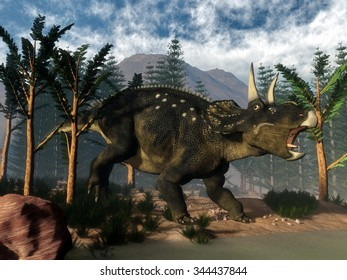 Nedoceratops roaring while running amoung onychiopsis trees - 3D render