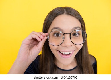 need to improve eyesight. childhood health. teen girl wear glasses. express human emotions. smart looking child. kid accessory fashion. oculist concept. teenager has poor eyesight. no way.