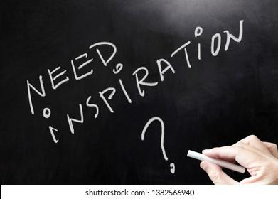 Need inspiration concept words written on blackboard