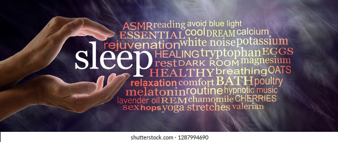 Need to know stuff for those who have trouble sleeping - female hands cupped around the word SLEEP with a relevant word cloud against a dark dreamy feathery background
