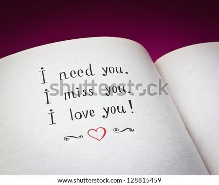 Need You Miss You Love You Stockfoto Jetzt Bearbeiten 128815459
