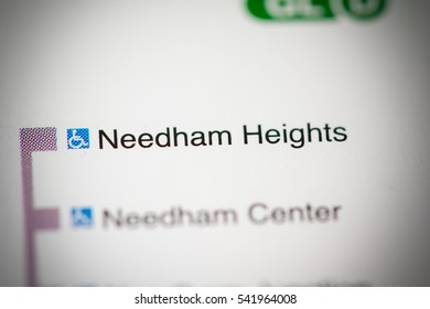 Needham Heights Station. Boston Metro map.