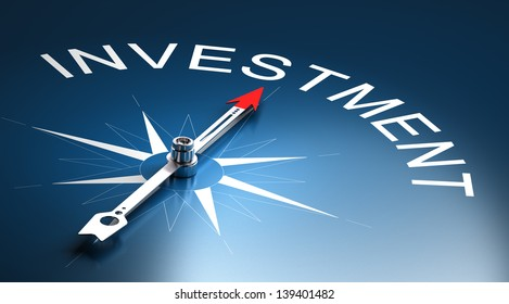 Needle of a compass pointing to the word investment, 3D Render suitable for financial risk management concept.