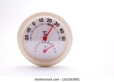 Needle type analog thermo-hygrometer in front of white background