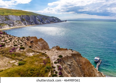 Needles of Isle of Wight in summer, England, UK