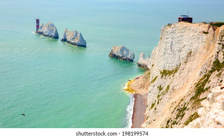 The Needles Isle of Wight UK close to Alum Bay chalk stacks and lighthouse tourist attraction