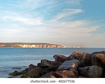 The Needles, Isle of Wight, viewed from Milford on Sea, near Lymington in the New Forest National Park