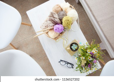 Needlework and knitting. Concept of women's work. Hobbies and homework.