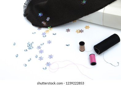 needlework, sewing and tailoring craft concept ,Thread thread and bottons on the white background