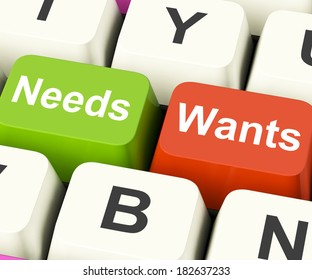 Needs Wants Keys Showing Necessities And Wishes