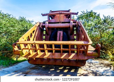 Neeltje Jans, Zeeland/the Netherlands - Sept 17, 2018: Heavy equipment used for the construction of the storm surge barrier of the Delta Works in the Netherlands