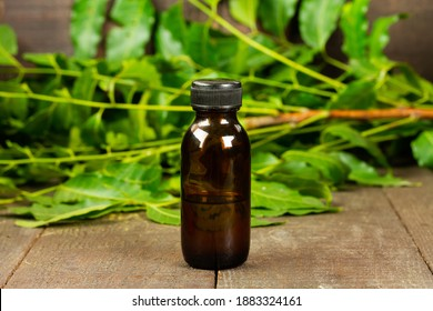neem oil in bottle and neem leaf on wooden background.