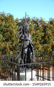 """Neenah, Wisconsin / USA - October 27th, 2019: Ho-poe-kaw """"Glory of the Morning"""", Ho-Chunk chief of the 1700s led her trib to live in the Neenah, Wisconsin area on an island of the Fox River"""