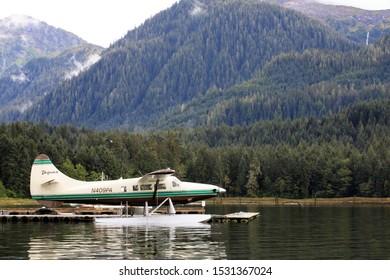 Neets Bay, Alaska / USA - August 18, 2019: A seaplane at Neets Bay, Neets Bay, Alaska, USA