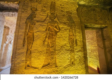 Nefertari together with Hathor and Isis, depicted  in the Small Temple of Abu Simbel