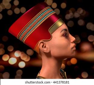 Nefertiti. Queen of Egypt. Detailed 3D rendering. Illustration.