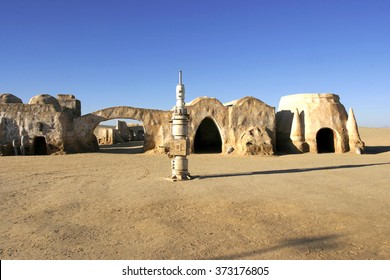 NEFTA; TUNISIA - DEC 8; Original movie scenery for Star Wars film A New Hope near Nefta city in the Sahara desert; Tunisia December 08; 2004