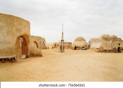 "NEFTA, TUNISIA - September 04, 2007. Scenery for the movie ""Star wars"" near Nefta town in Tunisia. Tatooine planet industrial equipment."