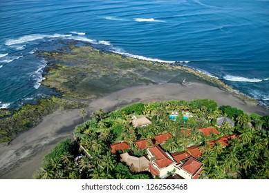 Negara, Bali / Indonesia - October 4, 2012 : An aerial view near Medewi beach, Bali