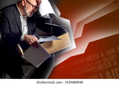 Negative emotions of losing job. The man faced the problem of unemployment. The man is upset about losing his job. Dismissed employee on a red background. Words that symbolize unemployment.