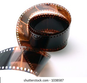 negative film on white background