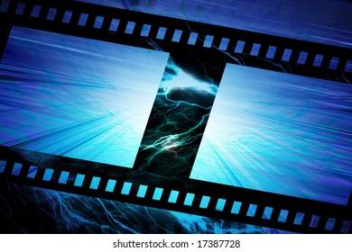 negative film strip on a blue background