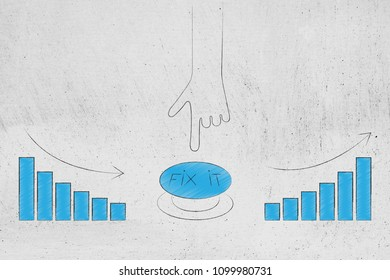 from negative to positive results conceptual illustration: hand about to push Fix It button to change stats from bad to great with bar graph