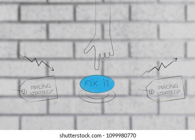 from negative to positive results conceptual illustration: pricing strategy tag with hand pushing button to fix stats from bad to great