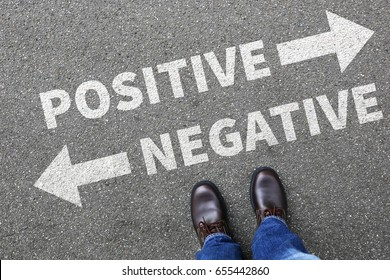 Negative positive thinking good bad thoughts attitude business concept decision decide choice