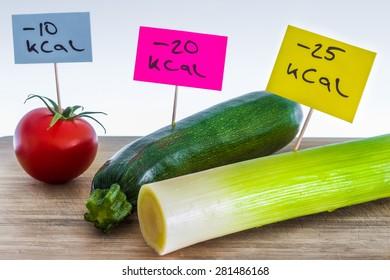 Negative-calories food; leeks, zucchini and tomato