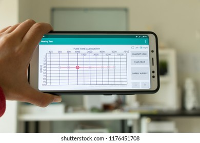 Negeri Sembilan, Malaysia - August 29, 2018: Hearing Test application on smartphone. It provides simple Pure Tone Audiometry for hearing test.