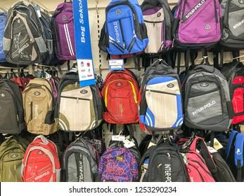 Negeri Sembilan, Malaysia - December 09, 2018; School bags in supermarket, back to school concept.