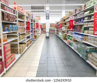 Negeri Sembilan, Malaysia - December 09, 2018; Modern large store of Big supermarket interior.