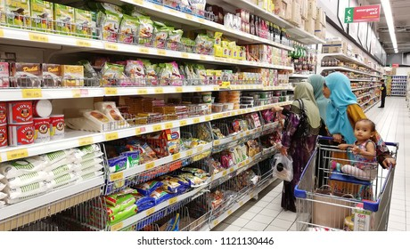 Negeri Sembilan, Malaysia - Jun 8,2018: Variety dried product for cooking  displayed on shelves