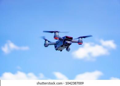 Negeri Sembilan, Malaysia - March 9, 2018: The DJI Spark, smallest quadcopter/drone by DJI