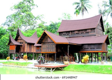 "Negeri Sembilan, Malaysia - May, 2017: ""Rumah Jumbang"" is traditional malay minangkabau house at Jelebu, Negeri Sembilan. ,This house over than 100 years. In past,This house for the village leader"