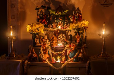 Negeri Sembilan , Malaysia - October 11,2018 -  Ritualistic display of doll ( Bommai golu )during Navarathiri Festival