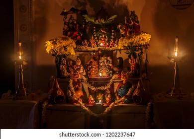 Negeri Sembilan , Malaysia - October 11,2018 -  Ritualistic display of Bommai golu during Navarathiri Festival