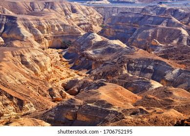 Negev desert landscape near the Dead Sea, Israel.