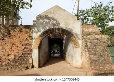 Negombo, Sri Lanka - July 24, 2018: The gate at the historic Dutch Fort
