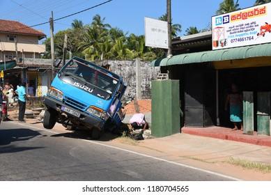 NEGOMBO,SRI LANKA - FEBRUARY 05.2018:main road traffic accident  on February 05,2018 in Negombo, Sri Lanka