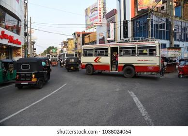 NEGOMBO,SRI LANKA - JANUARY 17.2018:street scene in Negombo town on January 17,2018 in Negombo, Sri Lanka