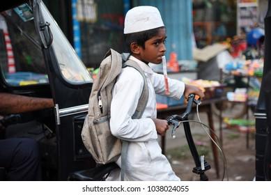 NEGOMBO,SRI LANKA - JANUARY 17.2018:unidentified muslim boy  on January 17,2018 in Negombo, Sri Lanka