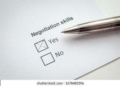 Negotiating skills. Checklist and make a choice. Questionnaire and pen