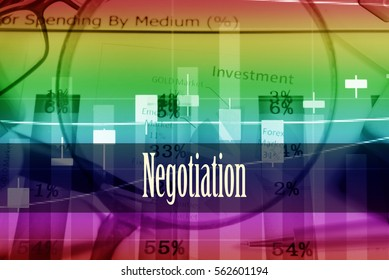 Negotiation - Hand writing word to represent the meaning of financial word as concept. A word Negotiation is a part of Investment&Wealth management in stock photo.