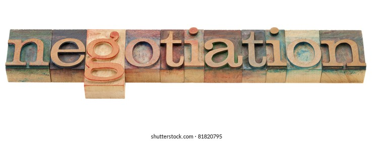 negotiation - isolated word in vintage wood letterpress printing blocks
